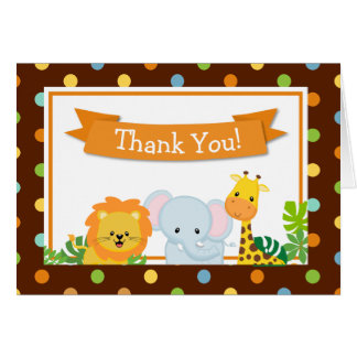 Safari Jungle Thank You Card Folded Note Card