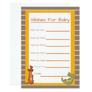 Safari Jungle Wishes for Baby Baby Shower Game Card