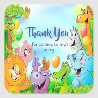 Safari jungle with smiling animals Thank you Square Sticker