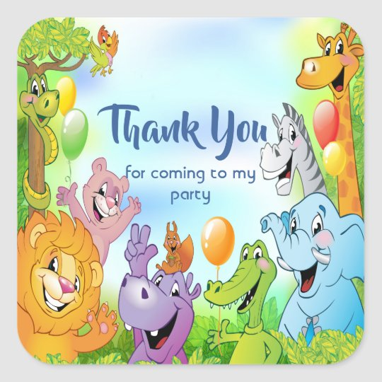 Safari jungle with smiling animals Thank you Square Sticker