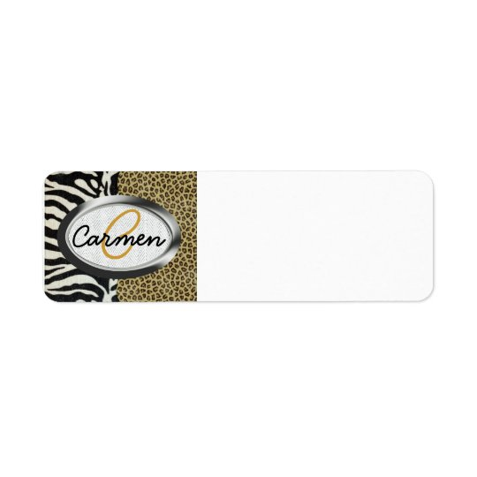 Safari Leopard and Zebra Print Monogram Return Address Label
