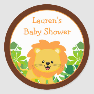 Safari Lion Baby Shower Favor Stickers