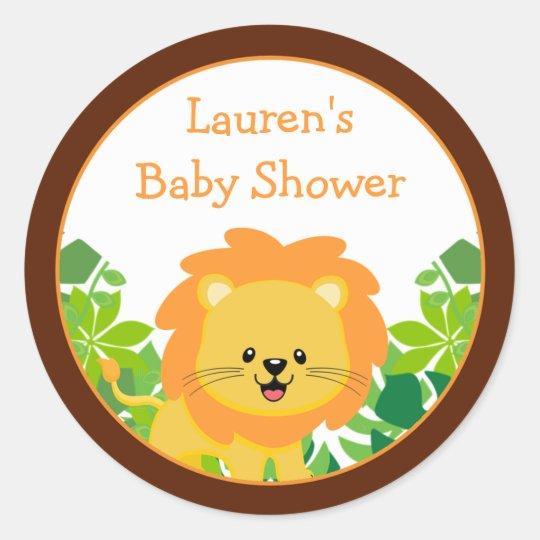 Safari Lion Baby Shower Favour Stickers
