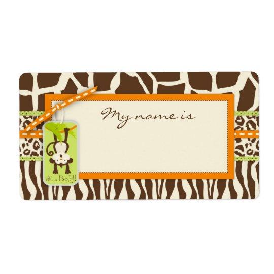 Safari Monkey Animal Print Baby Shower Shipping Label