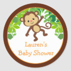 Safari Monkey Baby Shower Favour Stickers