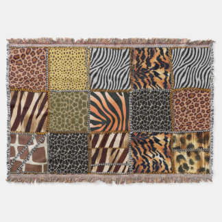 Safari patchwork Throw Blanket
