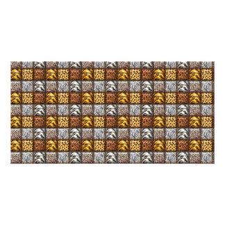 Safari Print Tiles Customized Photo Card