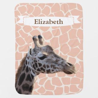Safari Realistic Giraffe & Print Baby's Name Baby Blankets