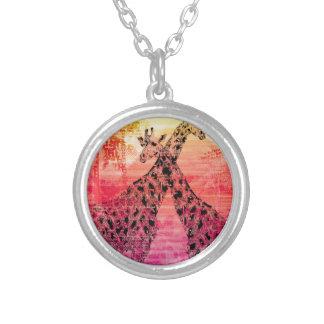 Safari Sun Giraffe Silver Plated Necklace