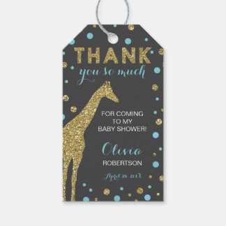 Safari Thank You Tag, Aqua Blue, Faux Gold Glitter Pack Of Gift Tags