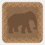 Safari Theme Elephant Silhouette Square Sticker