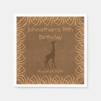 Safari Theme Giraffe Personalized Paper Napkins