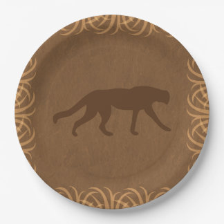 Safari Theme Wild Cat with Tall Grass Border 9 Inch Paper Plate