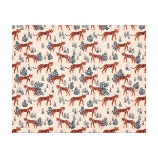 Safari Tiger Blush Coral Girls / Andrea Lauren Canvas Print