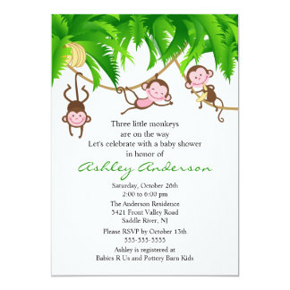 Safari Triplet Monkeys Baby Shower Invitation