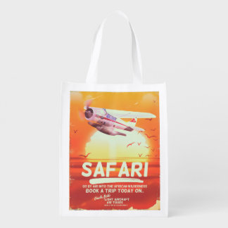 Safari vintage adventure poster. reusable grocery bag
