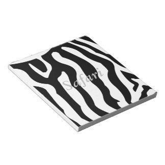 Safari, Zebra horse stripes pattern black & White Notepad