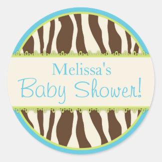 Safari Zebra Print Baby Shower Sticker