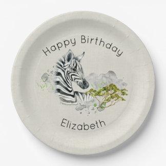 Safari Zebra Wild Exotic Animal Happy Birthday 9 Inch Paper Plate