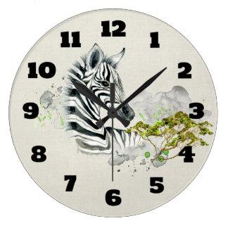 Safari Zebra With Green Savannah Trees Watercolor Large Clock