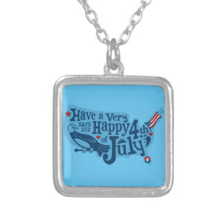 Safe And Happy 4th Of July Silver Plated Necklace