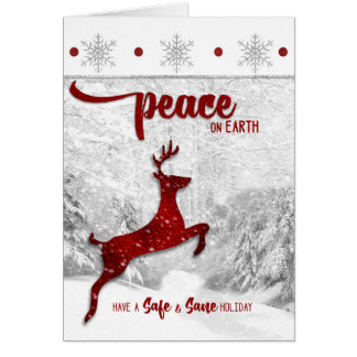 Safe and Sane Sobriety Peace on Earth Red Reindeer Card