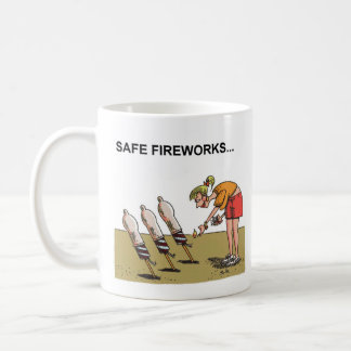 Safe Fireworks right hand cartoon mug