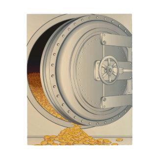 Safe & Gold Coins Wood Print