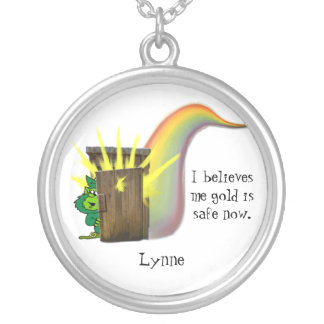 Safe Leprechauns Gold, Silver Plated Necklace