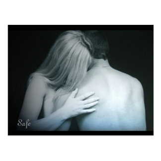 """Safe"" Loving Couple Embrace Postcard"