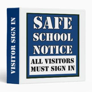 Safe School Visitor Sign In Binder