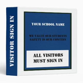 Safe School Visitor Sign In Custom Binder