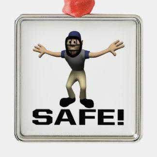 Safe Silver-Colored Square Ornament