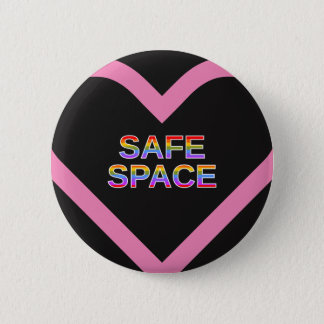 """SAFE SPACE"" in a pink heart shape outline 2 Inch Round Button"