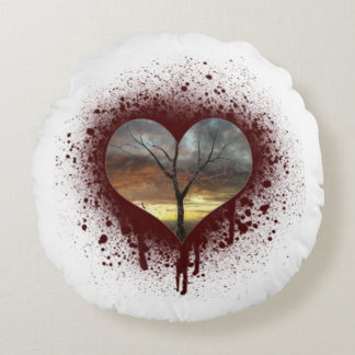 Safe the nature bleeding heart tree of life round pillow