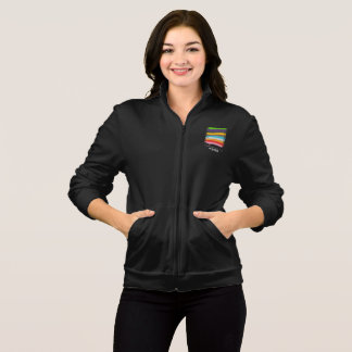 Safe With Me Flag Women's Dark Fleece Jog Jacket