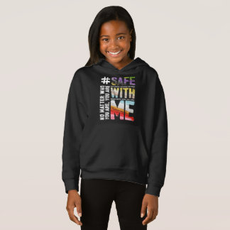 Safe With Me Watercolor Girl's Dark Hoodie