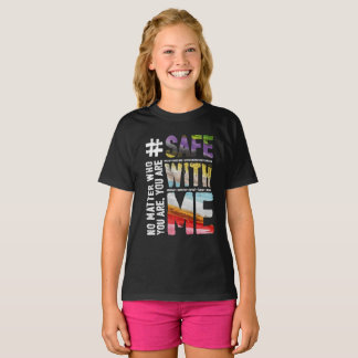 Safe With Me Watercolor Girl's Dark T-Shirt