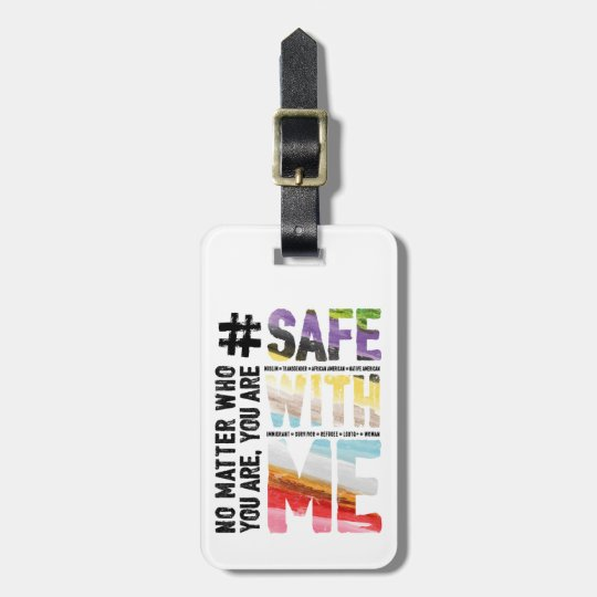 Safe With Me Watercolor Luggage Tag