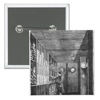 Safes at the Bank of France in Paris, 1897 2 Inch Square Button