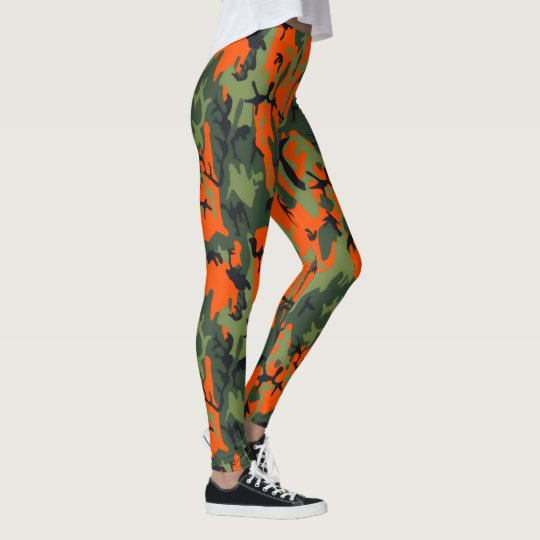Safety Blaze Orange and Green Camo Leggings