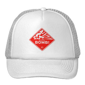 Safety Bomb Warning Red Sign Bombing Caution Trucker Hat