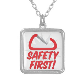 Safety First Silver Plated Necklace