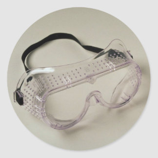 Safety glasses to protect the eyes round sticker