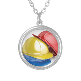 Safety helmets silver plated necklace