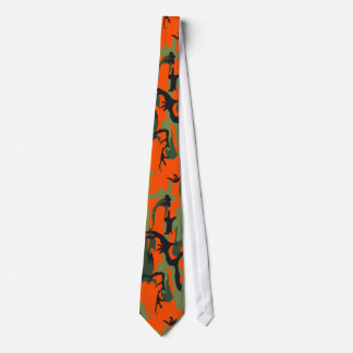 Safety Orange and Green Camo Tie