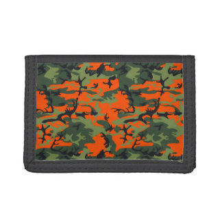 Safety Orange and Green Camo Tri-fold Wallets