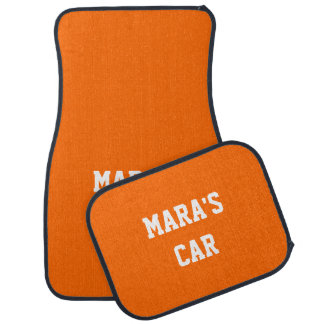 Safety Orange Exclusive Color Matching Name Car Mat