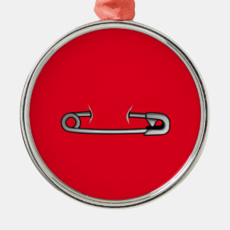 safety pin 1 Silver-Colored round ornament