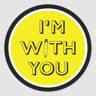 Safety Pin - I'm With You Round Sticker